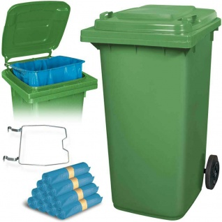 240 Liter Mülltonne grün mit Halter für Müllsäcke, inkl. 100 Müllsäcke