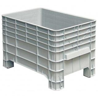 Palettenbox mit 4 Füßen, LxBxH 1030x630x670 mm, Boden/Wände geschlossen, grau