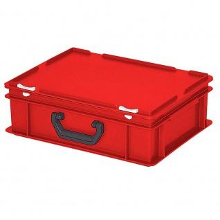 Kunststoffkoffer / Eurokoffer mit 1 Tragegriff, LxBxH 400 x 300 x 130 mm, rot - Vorschau
