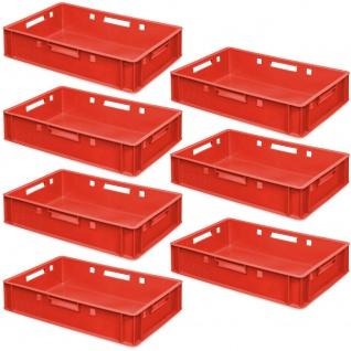 7 Fleischkästen / Eurobehälter E1, 600 x 400 x 125 mm, rot, lebensmittelecht