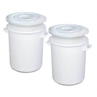 2x Kunststofftonne/Rundtonne 75 Liter mit Deckel, lebensmittelecht, PE-HD, weiß