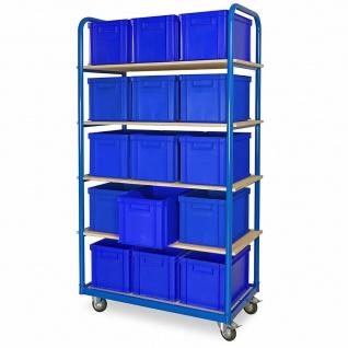 Kommissionierwagen mit 5 Ebenen und 15 Behältern in blau, LxBxH 400x300x280 mm