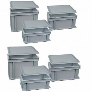 12-teiliges Eurobehälter Spar-Set, LxB 300x200 mm, Höhe 120 mm, 150 mm, 220 mm