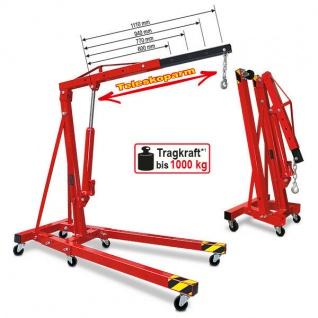 Mobiler Werkstattkran/Montagekran, LxH 1630x1450-2320 mm, Tragkraft 250-1000 kg