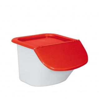 Vorratsbehälter / Zutatenspender, 15 Liter, LxBxH 440 x 400 x 280 mm, Behälter weiß, Deckel rot