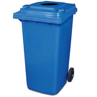 240 Liter Mülltonne mit Einwurfloch, BxTxH 580 x 740 x 1070 mm, Farbe blau
