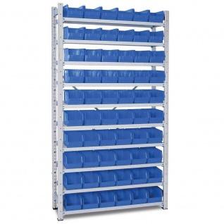Kleinteileregal, verzinkt, 2000x1070x315 mm, 10 Böden, mit 60 Sichtboxen LB 4 blau