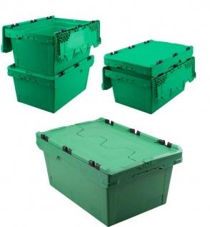 5x Mehrwegbehälter mit Deckel, grün, verplompbar, LxBxH 600x400x200 mm, 29 Liter