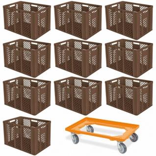 10 Euroboxen, 600x400x410 mm, lebensmittelecht, braun + GRATIS Transportroller