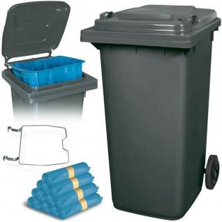 240 Liter Mülltonne grau mit Halter für Müllsäcke, inkl. 100 Müllsäcke