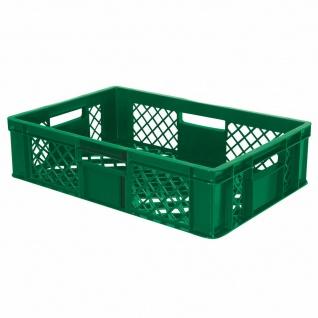10x Bäckerkiste, 600x400x150 mm, lebensmittelecht, grün + GRATIS Transportroller