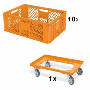 10x Bäckerkiste, 600x400x240 mm, orange, lebensmittelecht + GRATIS Transportroller
