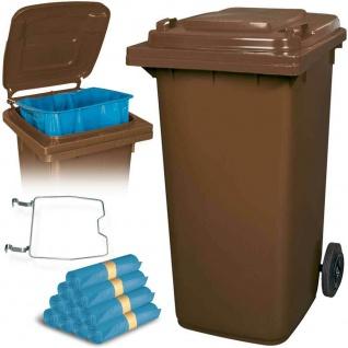 240 Liter Mülltonne braun mit Halter für Müllsäcke, inkl. 100 Müllsäcke