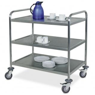 2 Servierwagen / Tischwagen aus Edelstahl, 1x 2 Böden, 1x 3 Böden, Trgkf 200 kg - Vorschau 3