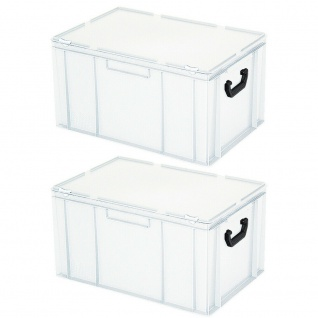 2 Aufbewahrungskoffer/Kunststoffkoffer, LxBxH 600x400x330 mm, 63 Liter, weiß