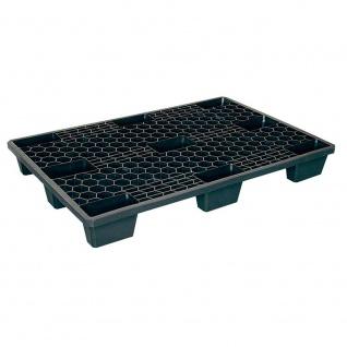 Kunststoffpalette / Leichtpalette im Euromaß, LxBxH 1200 x 800 x 140 mm, Deckfläche durchbrochen, schwarz