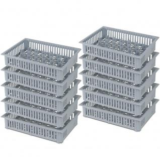 10x Spülkorb für Schnapsgläser, 33 Fächer, LxBxH 390 x 260 x 80 mm, grau