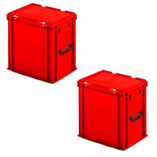 2 Eurokoffer aus PP mit 2 Tragegriffen, LxBxH 400x300x410 mm, rot