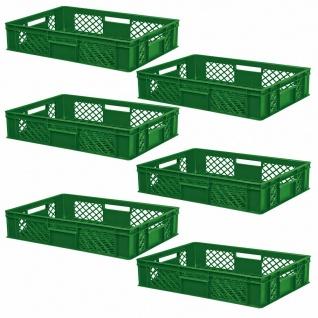 6 Euroboxen / Bäckerkisten, LxBxH 600 x 400 x 150 mm, grün, lebensmittelecht - Vorschau 1