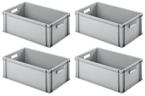 4 Eurobehälter / Stapelboxen mit 2 Durchfassgriffen, LxBxH 600x400x220 mm, grau
