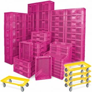 78 Bäckerkisten in 5 Größen, 600x400 mm, H 90 mm - 410 mm, pink + 5 Roller, gelb