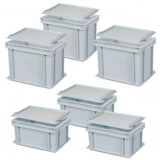12-teiliges Sparset, Eurobehälter, LxB 300x200 mm, Höhe 150 und 220 mm, grau