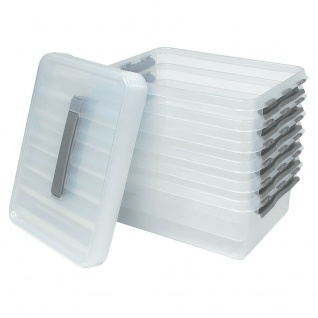 6 Klarsichtboxen mit Clipdeckel, transparent, LxBxH 400x300x140 mm, 12 Liter, PP