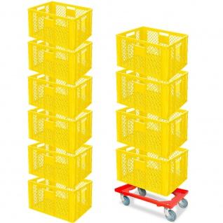 10 Euroboxen, 600x400x320 mm, lebensmittelecht, gelb + GRATIS Transportroller