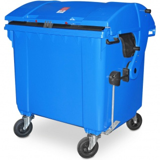 Müllcontainer nach EN 840, 1100 Liter, Runddeckel, mit Aufnahme-Kammleisten, blau