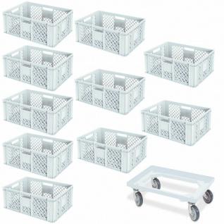 10 Euroboxen, 600x400x240 mm, weiß, lebensmittelecht + GRATIS Transportroller