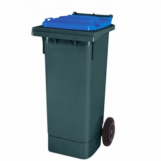 80 Liter MGB, Mülltonne Abfalltonne, grau mit blauem Deckel