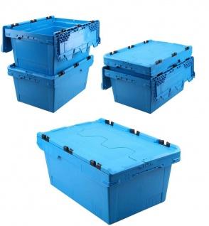 5x Mehrwegbehälter mit Deckel, blau, verplompbar, LxBxH 600x400x200 mm, 29 Liter