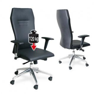 Bürostuhl, hochwertiger Bezug im Lederlook, hohe Rückenlehne, schwarz, Trg 120 kg