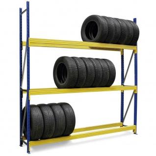 Reifenregal, erweiterbar, BxTxH 2780x400x2500 mm, Fachbreite 2700 mm, 3 Ebene
