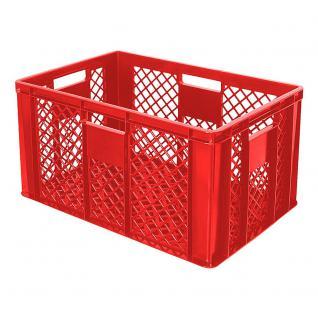 4x Bäckerkiste, 600 x 400 x 320 mm, Farbe rot, mit 4 Durchfaßgriffen (55423) - Vorschau