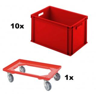 10x Eurobehälter, LxBxH 600 x 400 x 320 mm, rot + 1 GRATIS Transportroller