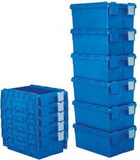 Mehrwegbehälter mit anscharnierten Deckeln, Farbe blau, LxBxH 600 x 400 x 265 mm - Vorschau 3