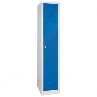 Kleiderspind mit Drehriegelverschluss, 1 Abteil, BxTxH 300x500x1800 mm, blaue Tür