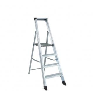 Alu Stufenleiter mit 4 Stufen, Arbeitshöhe bis 2850 mm, Leiterhöhe 1495 mm