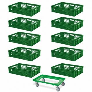10 Euroboxen, 600x400x150 mm, lebensmittelecht, grün + GRATIS Transportroller