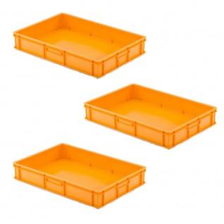 3 Transportbehälter für Backbleche, LxBxH 655x450x120 mm, orange, geschlossen