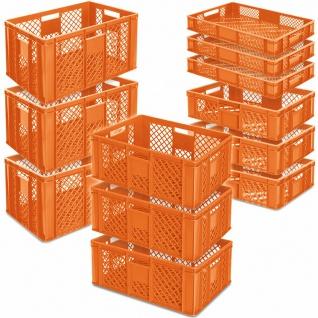 12 Euroboxen/Bäckerkisten, LxB 600x400 mm, H 90 mm/150 mm/240 mm/320 mm, orange