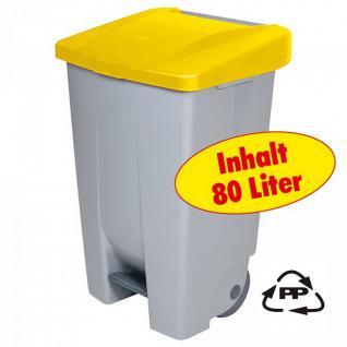 80 Liter Wertstoffsammler / Mülltonne, fahrbar, Deckel mit Fußbedienung, Korpus grau / Deckel gelb