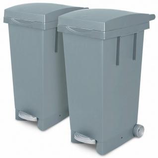 2x 80 Liter Abfallbehälter mit Rollen, 2x grau, Fußpedal, Deckel