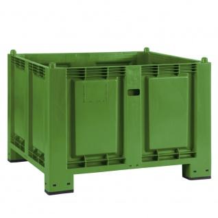 Palettenbox mit 4 Füßen, LxBxH 1200x800x850 mm, grün, Boden/Wände geschlossen. Tragkraft 500 kg