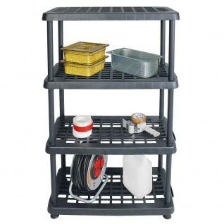 Kunststoffregal mit 4 Böden, Stecksystem, BxTxH 810 x 390 x 1360 mm, anthrazit