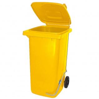 120 Liter Mülltonne mit Fußpedal für handfreie Bedienung, gelb