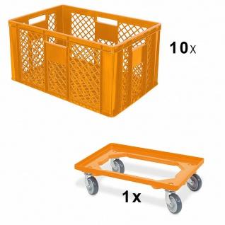 10x Bäckerkiste, 600x400x320 mm, lebensmittelecht, orange + GRATIS Transportroller