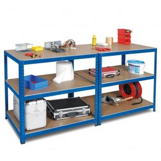 Packtisch / Werkbank, HxBxT 900 x 1800 x 600 mm, blau, Tragkraft 265 kg/ Boden