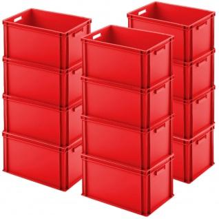 12 Euroboxen mit Durchfassgriffen, LxBxH 600 x 400 x 320 mm, rot